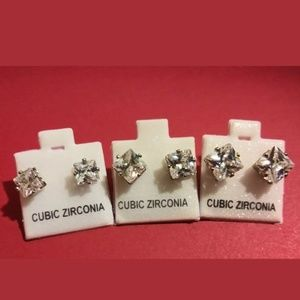 Cubic Zirconia Sterling Silver Studs (3 for 10)